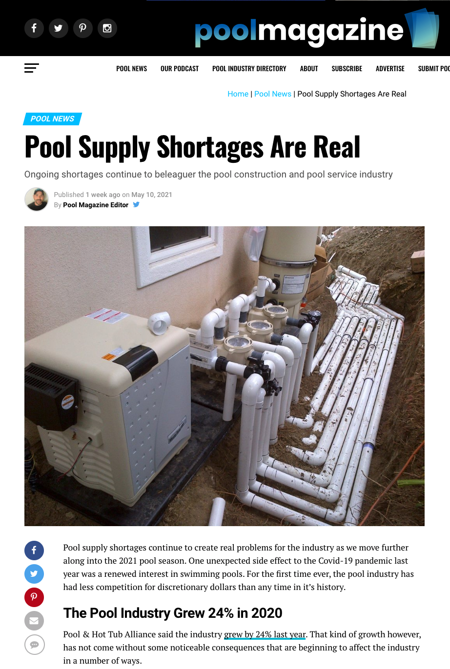 Pool Supply Shortages Are Real